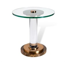 Modern Chocolate Marble,Steel,Acrylic,Glass Top Accent End Table,20''D x... - $1,579.05