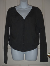 LARGE L CABI 639 cotton cashmere Loden green cardigan sweater Large - $23.05