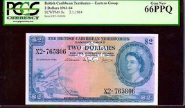 "BRITISH CARIBBEAN TERRITORIES P8c $1 ""MAP NOTE"" 1964 PCGS 66PPQ! EXTREME... - $2,750.00"