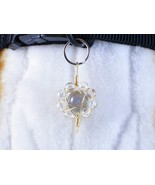 Cross Wrapped Moss Agate - dog collar charm for people or pets, zipper pull - $15.00
