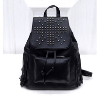 New Fashion Women's Casual Shoulder Backpack Rivet Black Retro Style Mul... - $20.21