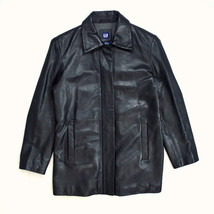 Soft Sleek Black Leather Wool Lined Quilted GAP Zip Up Riding Jacket Wom... - $14.84