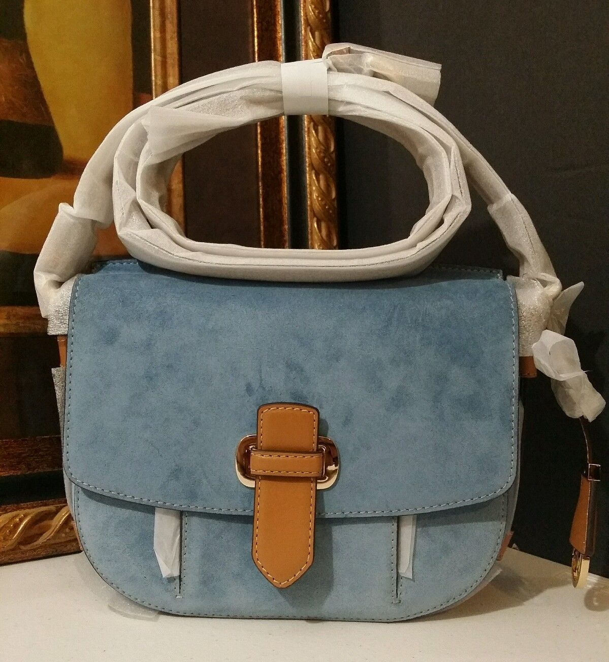 NWT MICHAEL KORS Romy Medium Crossbody Suede Leather Denim MSRP $298