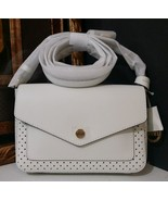 NWT MICHAEL KORS Greenwich Small Flap Saffiano Leather Crossbody OPTIC W... - $170.05