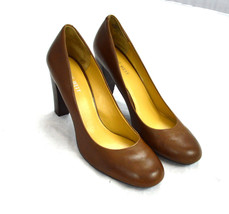 Simple Chocolate Brown Leather NINE WEST Classic Casual High Heels Shoes... - $17.81