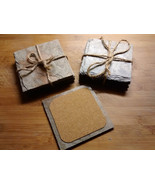 Handcrafted Roofing Slate Coaster Set Rustic Upcycled Antique Cork Backing - $8.99+