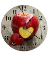 "Sugar Vine Art Apple with Heart Cut Out Clock Large 10.5"" Wall Clock Dec... - $21.59"