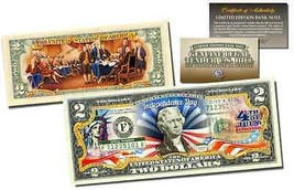 JULY 4th Independence Day Genuine Legal Tender US $2 Bill 2-SIDED w/COA ... - $14.95
