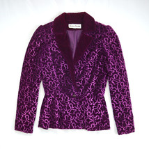 Mint Vintage Purple Velvet VICTOR COSTA Fitted Retro Peplum Blazer Jacke... - $78.20