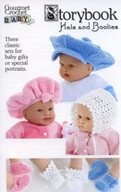 Storybook Hats and Booties Baby Newborn-12mo Gourmet Crochet Pattern Lea... - $8.07
