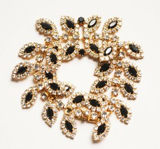 Vintage unsigned beauty high end black & white rhinestone bracelet '50s ... - $27.71