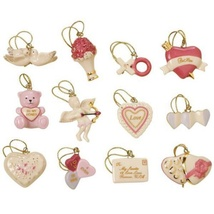 Lenox Valentine Be Mine Miniature Tree Ornaments Set of 12 Heart Dove Cu... - $103.65