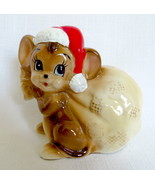 Norcrest Japan Christmas Ceramic Santa Mouse Bank with Hat & Gift Bag Ex... - $70.00