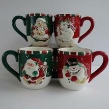 Fitz and Floyd Gift Gallery Christmas Holiday 18 Oz Coffee Cup Mug Set of 4 - $29.02