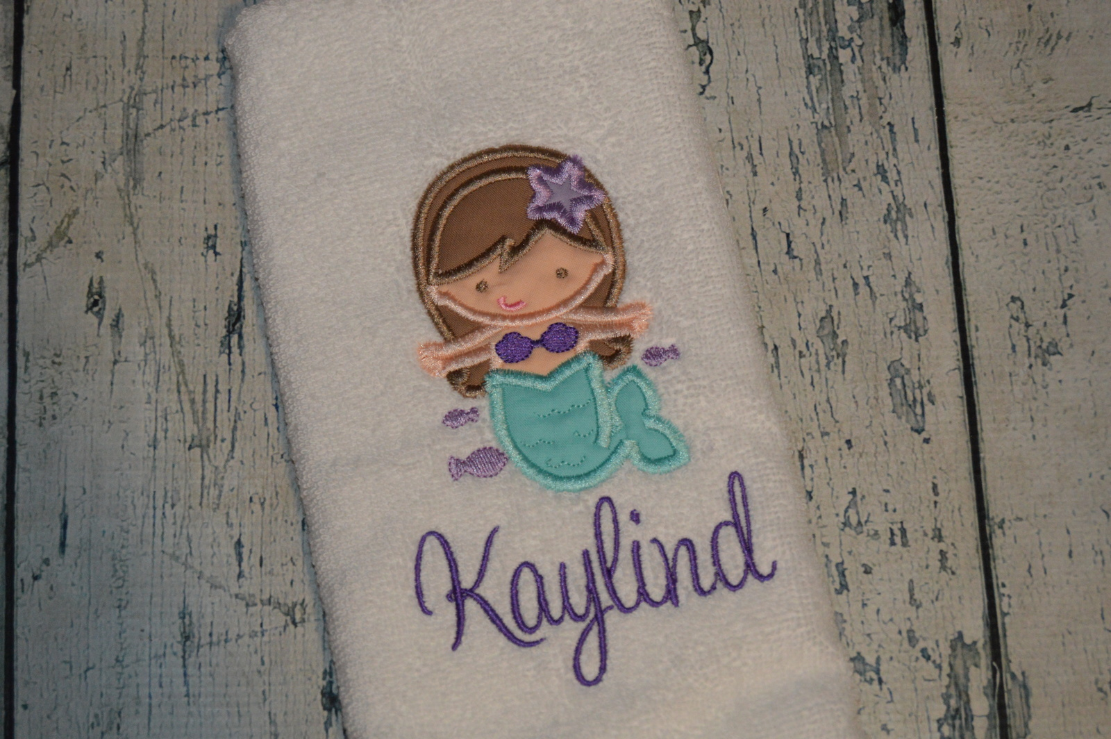 Primary image for Personalized Mermaid Hand towel for girls bathroom