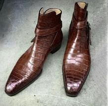 Handmade Men Alligator skin Jodhpurs boot, Men brown Crocodile Texture boots  - $179.99