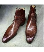 Handmade Men Alligator skin Jodhpurs boot, Men brown Crocodile Texture b... - $179.99
