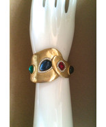 80s Vintage High End Designer Gold Plate Sapphire Ruby Emerald Rhineston... - $273.00