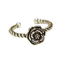Rose Flower Silver Ring Tail Ring Opening Ring Finger Ring Women Jewelry, 1 piec