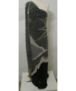 Hand Beaded One Shoulder Formal Silk Gown Black White Silver & Gold India L - $1,529.99
