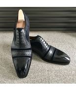 Handmade men's Black Leather Suede Shoes, Men Lace up Cap Toe Dress Fash... - $159.97+