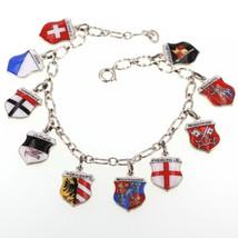 Vintage Charm Bracelet with Ten 835 Silver Enamel German & Swiss Travel Shields - $49.99