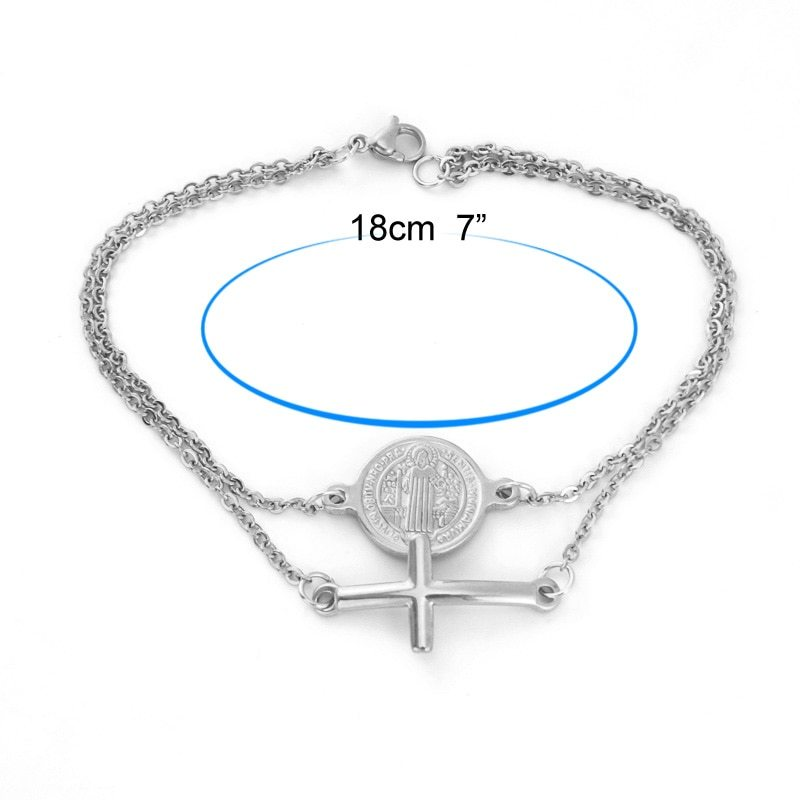 Stainless Steel Saint Benedict Medal Cross Charm Gold/Silver Religious Bracelet