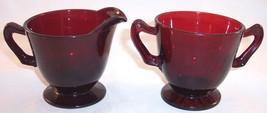 Anchor Hocking Royal Ruby Red Depression Glass Open Sugar & Creamer Set - $14.99