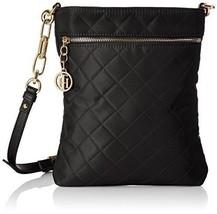 Tommy Hilfiger Isabella Quilted Nylon Flat Crossbody Handbag Bag, Black,... - $49.00