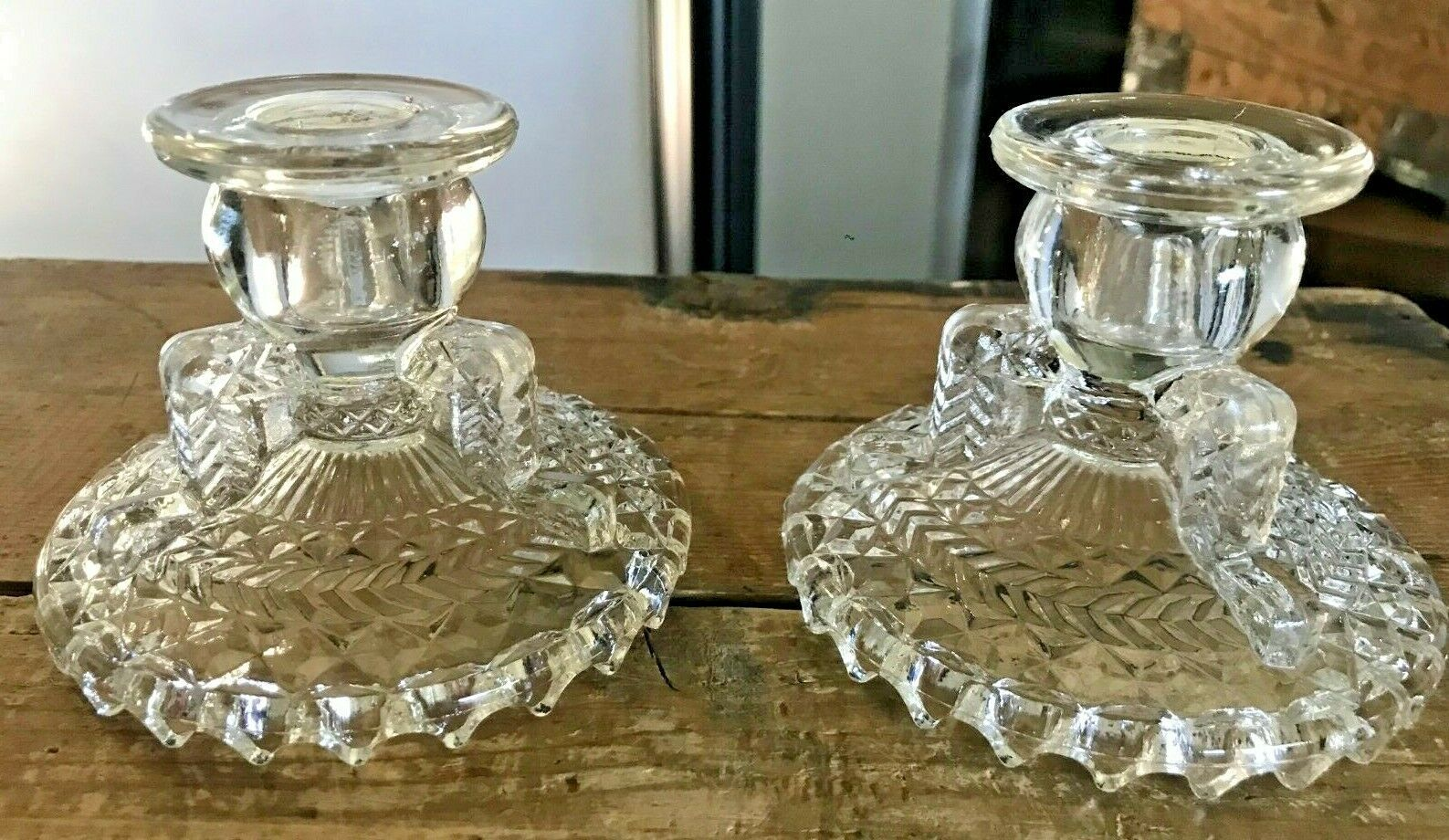 Vtg 50s Anchor Hocking Glass Clear Herringbone Candlesticks Candle Holders Pair - $19.34