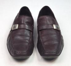 CALVIN KLEIN Brown Leather Belted Moccasin Loafer Driver Slip On Shoes Mens 11 M - $24.74