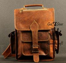 Real genuine men's leather backpack bag laptop satchel briefcase men vintage image 2