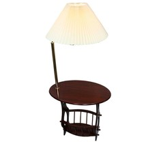 "Magazine accent table in cherry finish with brass arm lamp 52""H ORE TH-2... - $97.79"