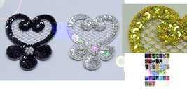 pair appliques sequins applikationen pailletten sew on embroidery handma... - $2.50