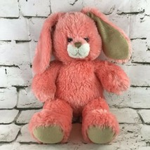 Build A Bear Bunny Rabbit Plush Pink Coral Gold Shimmer Soft Stuffed Ani... - $14.84