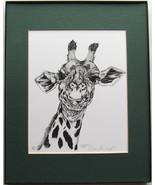 Giraffe, Framed Matted Wildlife Art Print, Pen and Ink, Animal Art Drawing - $39.00