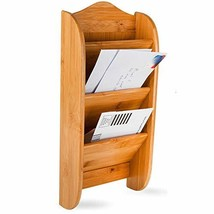 Home Intuition Wall Mount Bamboo Mail Organizer Letter Holder Rack, 3 Slot - $359,36 MXN