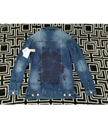 NWT XXS Lularoe Jaxon Rose Embroidered Back Denim Jean Jacket HTF!!! - $29.69