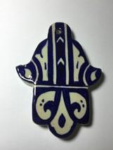 Moroccan Khamsa Hand Lucky Amulet Glazed Cerami... - $15.84