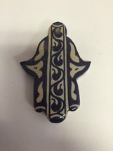 Moroccan Khamsa Hand Lucky Amulet Glazed Ceramic Mosaic Tile Hang Wall Blue - $15.84