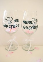 Custom Wine Glasses Couples Mouse Wedding Gift Personalized Wine Glass, ... - $28.99