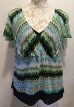 LANE BRYANT Green Blue Black Multi Color Flowy Shirt Blouse Top Size 14/16 - $23.99