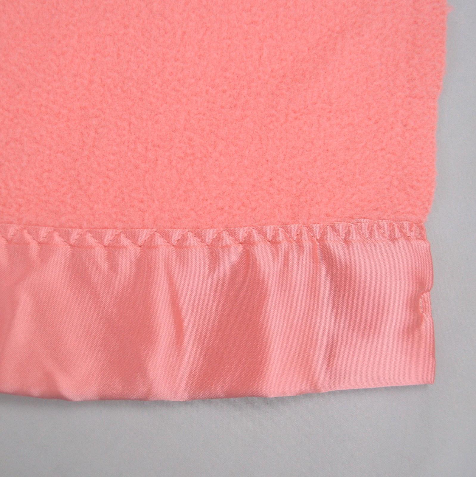 Vintage Dusty Pink Plush Fleece SEARS Satin Binding Heavy