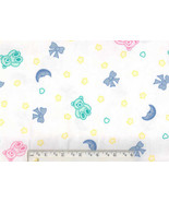 Teddy Bear Flannel, pastel baby quilting quilt ... - $6.90