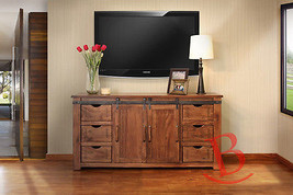 """70"""" Roger TV Stand Real Solid Wood Rustic Console Iron Detail Barn Door ... - $1,014.75"""