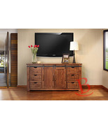 "70"" Roger TV Stand Real Solid Wood Rustic Console Iron Detail Barn Door ... - $1,014.75"