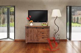 "50"" Roger TV Stand Real Solid Wood Rustic Console Iron Detail Barn Door Cabin - $836.55"