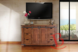 """60"""" Roger TV Stand Real Solid Wood Rustic Console Iron Detail Barn Door ... - $935.55"""