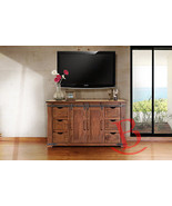 "60"" Roger TV Stand Real Solid Wood Rustic Console Iron Detail Barn Door ... - $935.55"