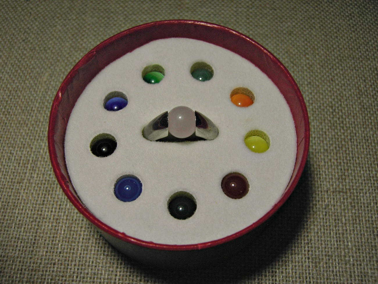 sterling silver ring with 10 interchangeable color orbs